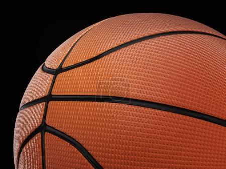 Photo pour Ballon de basket sur un fond noir. illustration 3D. - image libre de droit