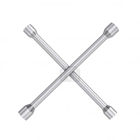 Photo for Cross wrench on a white background. 3d illustration. - Royalty Free Image