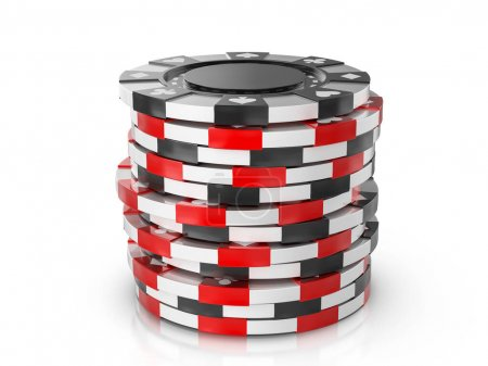 Photo for Casino chips on a white background. 3d illustration. - Royalty Free Image