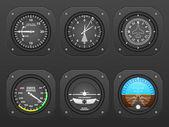 Airplane dashboard on black