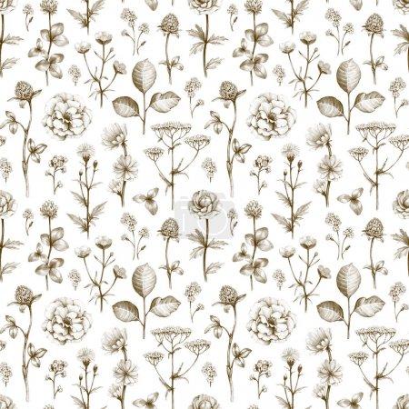 Photo pour Dessins de fleurs sauvages. Modèle sans couture - image libre de droit