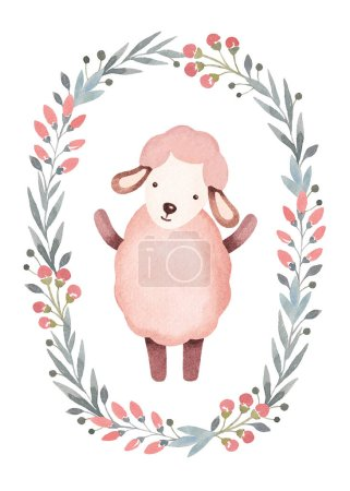 Photo for Watercolor illustration of cute sheep. Perfect for greeting card - Royalty Free Image