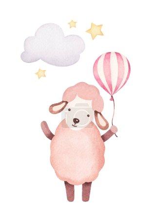 Watercolor illustration of sheep