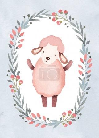 Photo pour Illustration aquarelle de moutons mignons dans un beau cadre floral, modèle pour carte de vœux - image libre de droit