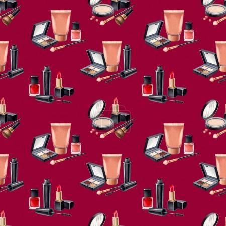 Photo for Illustration of make up products. Pattern of hand drawn cosmetics on red background - Royalty Free Image