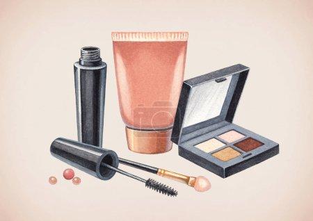 Photo pour Illustration de produits de maquillage. Cosmétiques dessinés à la main sur fond clair - image libre de droit