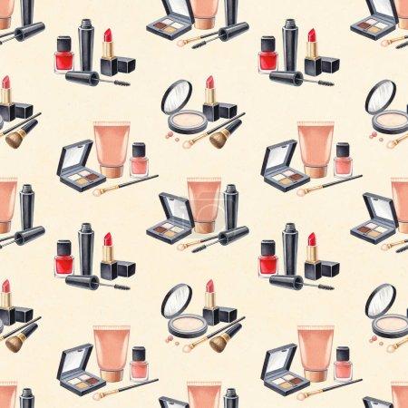 Foto de Ilustración de productos de maquillaje. Patrón de cosméticos dibujados a mano sobre fondo claro - Imagen libre de derechos