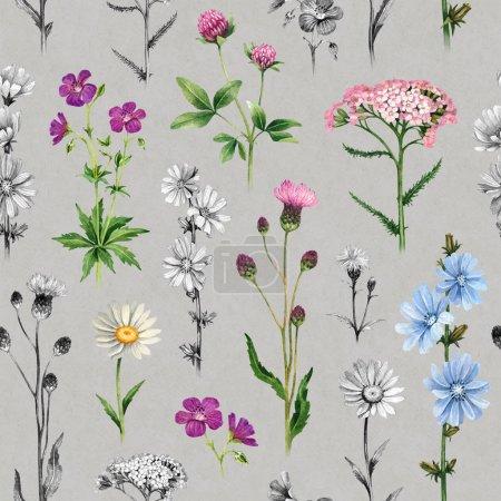 Foto de Acuarelas de flores silvestres. Patrón transparente - Imagen libre de derechos