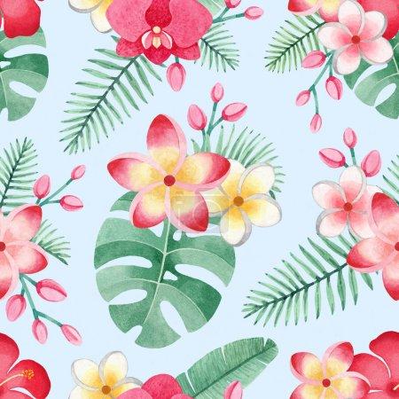 Photo pour Illustrations aquarelles de fleurs et feuilles tropicales. Modèle tropical sans couture - image libre de droit