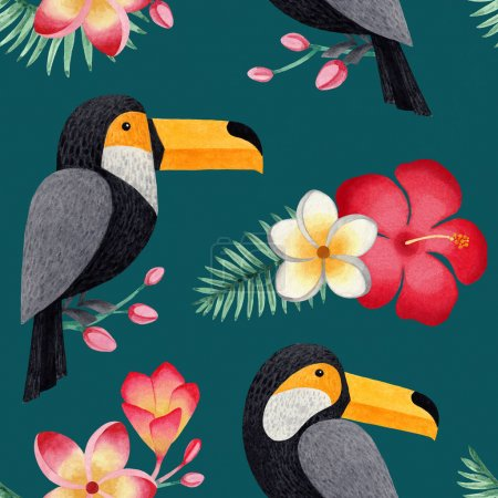 Watercolor illustrations of toucanes, tropical flowers and leaves. Seamless tropical pattern