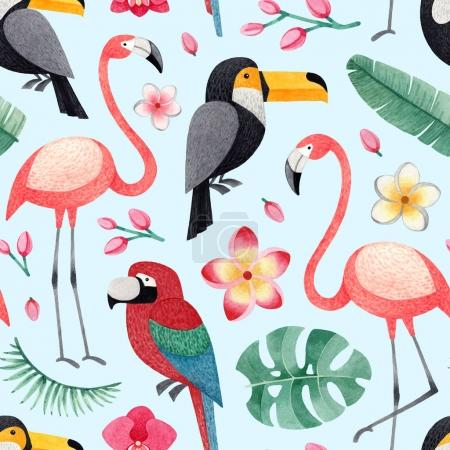 Watercolor illustrations of birds, tropical flowers and leaves. Seamless tropical pattern