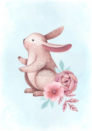 Watercolor illustrations of a bunny and flowers