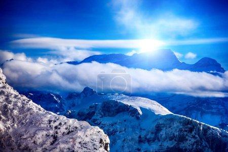 Winter mountains Switzerland in sunshine.