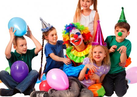 Photo for Birthday child clown playing with children . Kid wearing party hat hold balloons happiest birthday. Fun of group people pose for camera on white background. Holiday for children in kindergarten. - Royalty Free Image