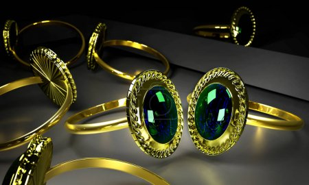 Two engagement gold rings with gem in storefront.