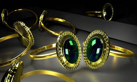 Deux bagues de fiançailles or avec gem en vitrine