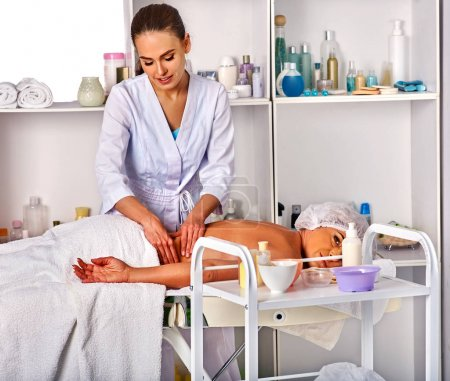 Massage therapy deals. Woman therapist making manual therapy back.