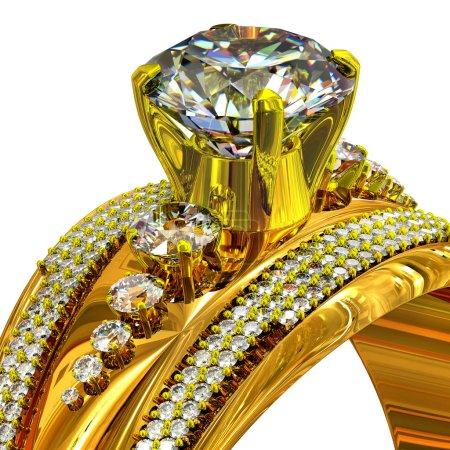 Foto de Anillo de compromiso oro con gema. Toma recortada de bisutería de lujo joyas con piedras preciosas para las personas en el amor. Resplandor de la gran cantidad de piedras preciosas. Vista frontal en aislados. - Imagen libre de derechos