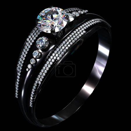 Black gold coating engagement ring with diamond gem.
