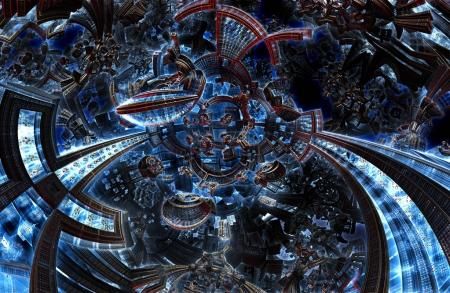 3d ultraviolet fractal of future city. Development civilization in galaxy.