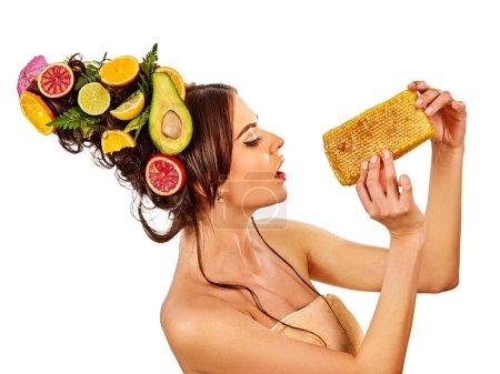 Facial honey mask for woman lips. Honeycombs homemade organic threatment.
