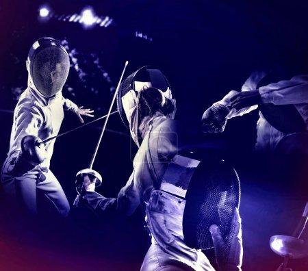 Fencing sport for women epee fencer. Ultraviolet background.