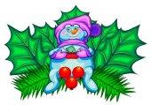 Vánoční dekorace. Sněhulák a javorové listy