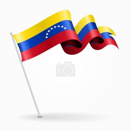 Venezuelan pin wavy flag. Vector illustration.