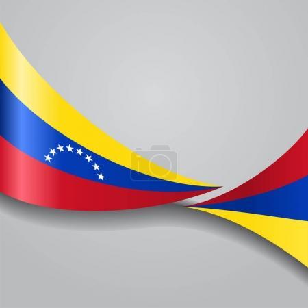 Venezuelan wavy flag. Vector illustration.
