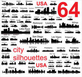 Detailed vector silhouettes of USA cities