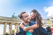 Happy couple having fun in Berlin