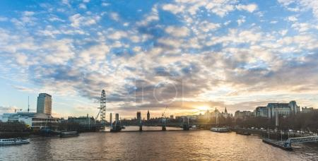 London panoramic view at sunset with Big Ben on background