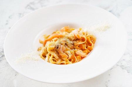 Delicious pasta with salmon