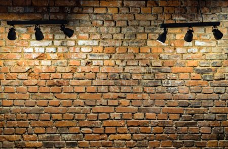 Photo for Old brick wall with stage lights - Royalty Free Image