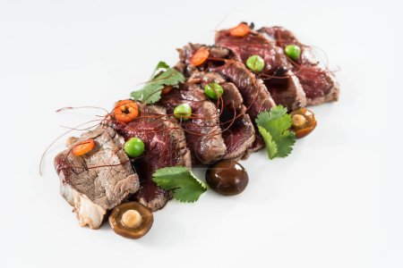 beef slices on white plate