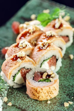 Photo for Delicious fusion sushi closeup - Royalty Free Image