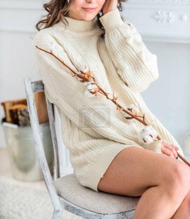 woman in a warm sweater
