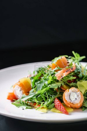 Photo for Delicious salad with shrimps on plate - Royalty Free Image