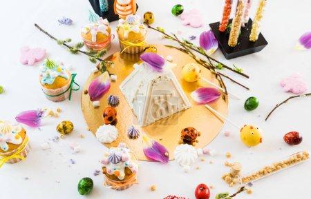 Easter dessert on festive table