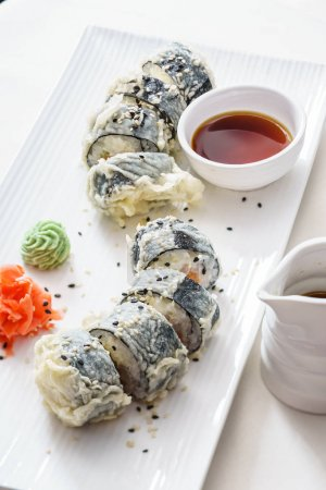 Photo for Delicious sushi set at restaurant - Royalty Free Image