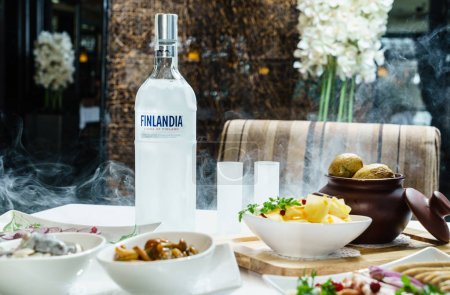 Bottle of Finlandia vodka on table