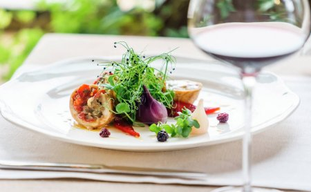 Photo for Gourmet food on white plate, close up view - Royalty Free Image