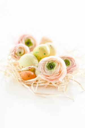 Easter concept with eggs, close up