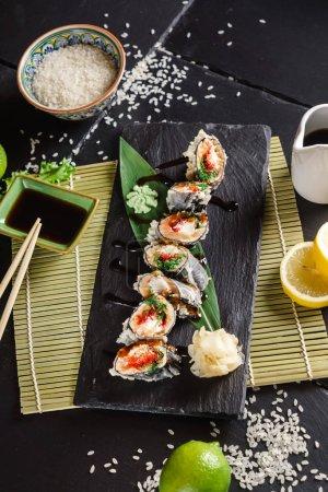 Photo for Sushi on the black background, close up - Royalty Free Image