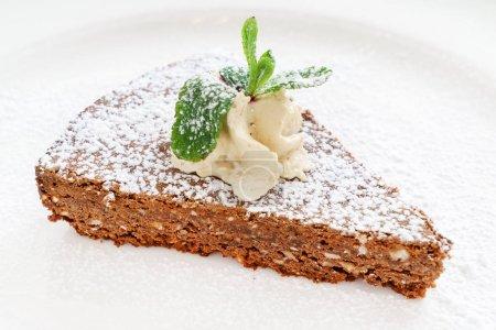 italian chocolate cake, close up