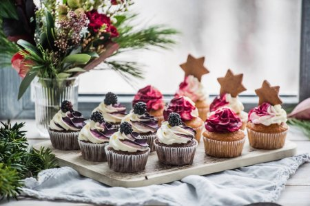 berry cupcakes with stars, close up