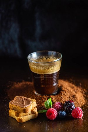 breakfast with coffee on table, close up