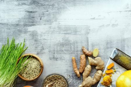 Photo for Fresh healthy food on the table, close up - Royalty Free Image