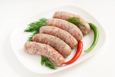 fresh raw sausages, close up