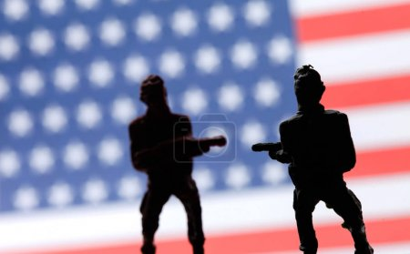 american soldiers and flag